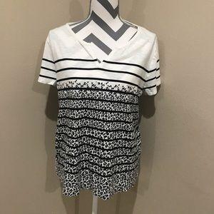 Talbots Top Tee T-shirt Leopard Print Striped